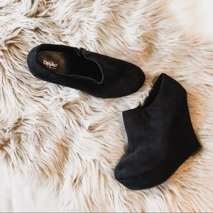 Shoes - Black Suede Wedge Ankle Boots